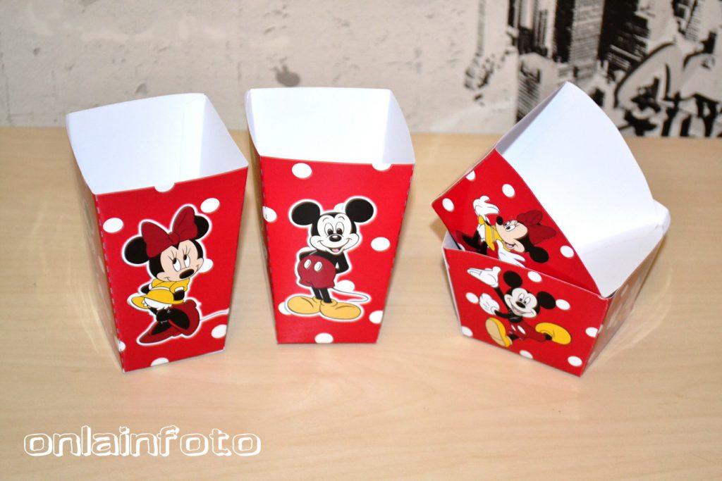 бумажные коробочки с минни маус и микки