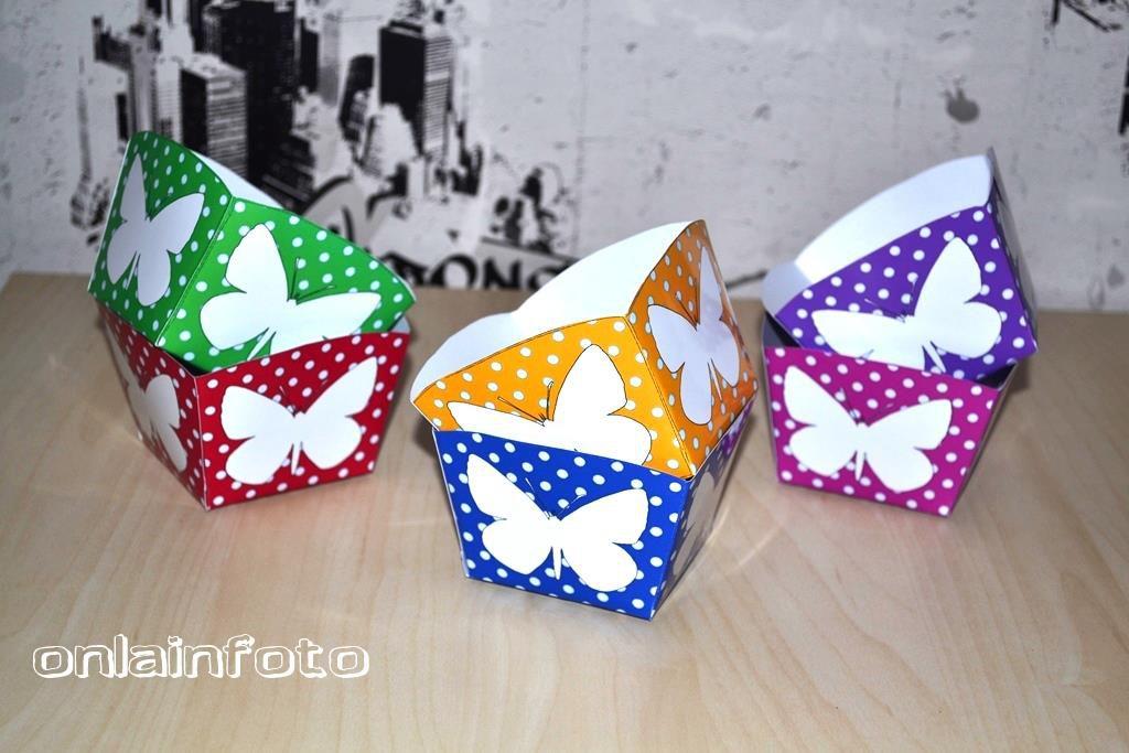 коробочки для попкорна с бабочками