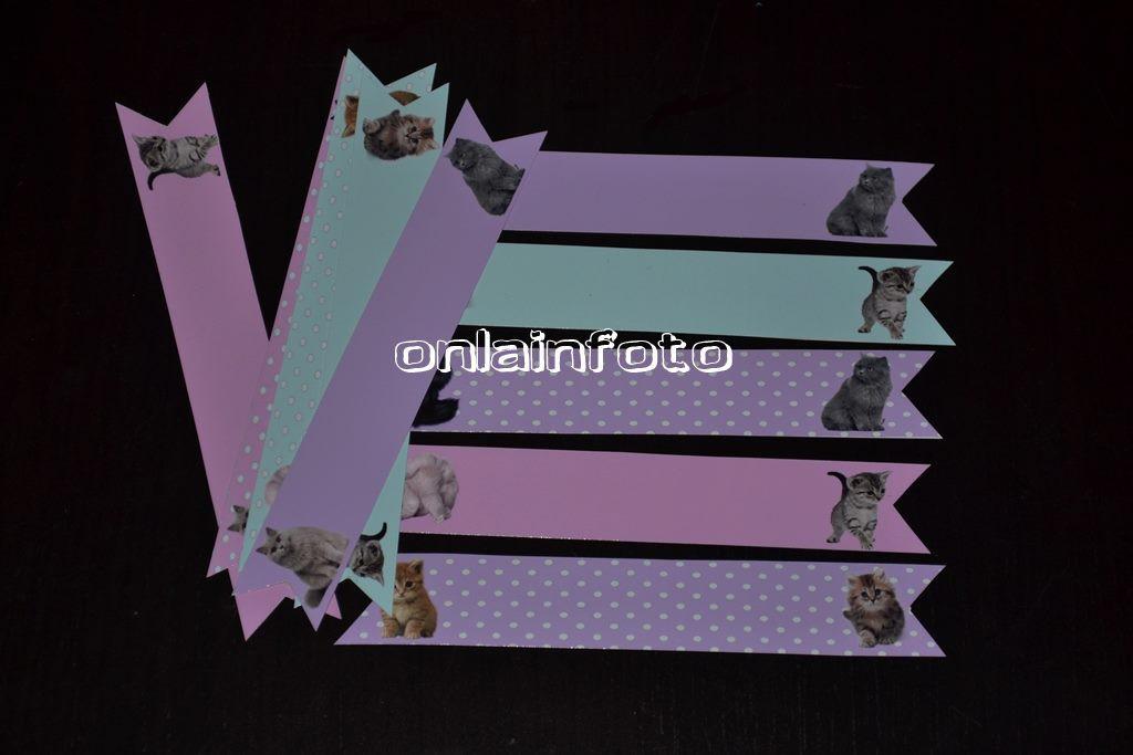флажки на трубочки с котятами