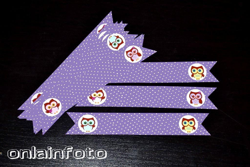 флажки на трубочка фиолетовые