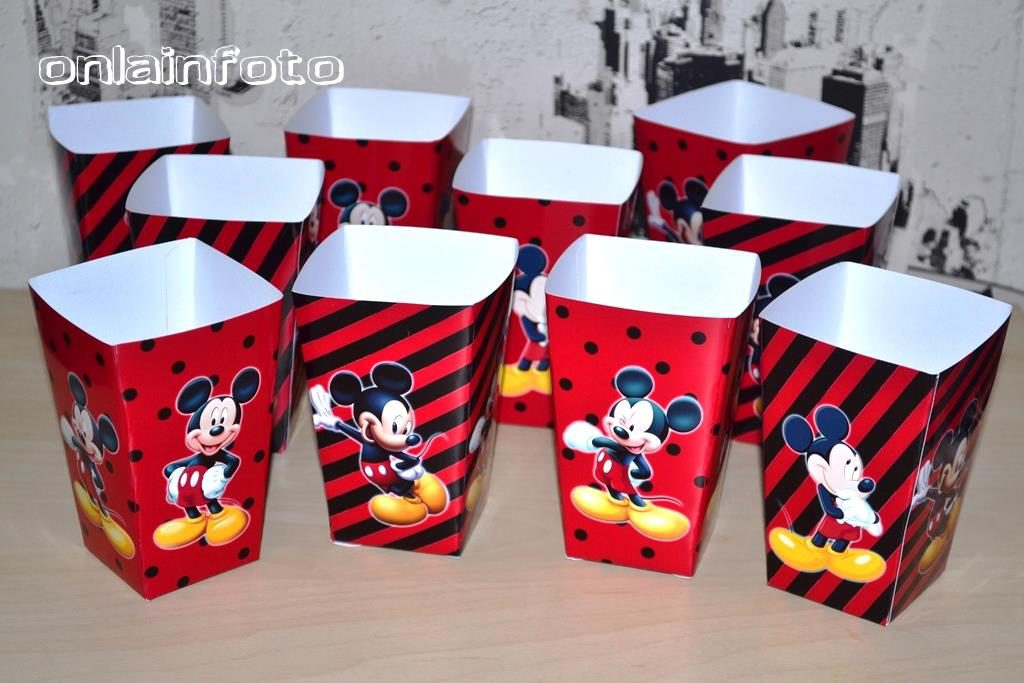 коробочки для попкорна с микки красно-черные