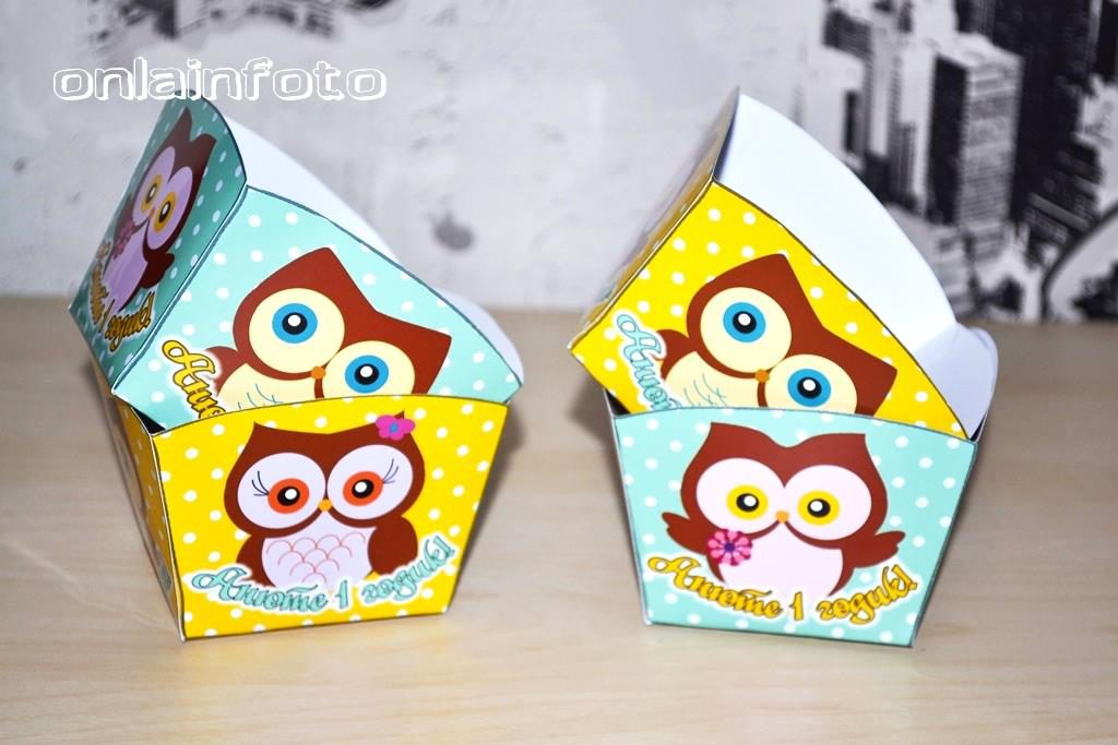 коробочки для сладостей желто-бирюзовая