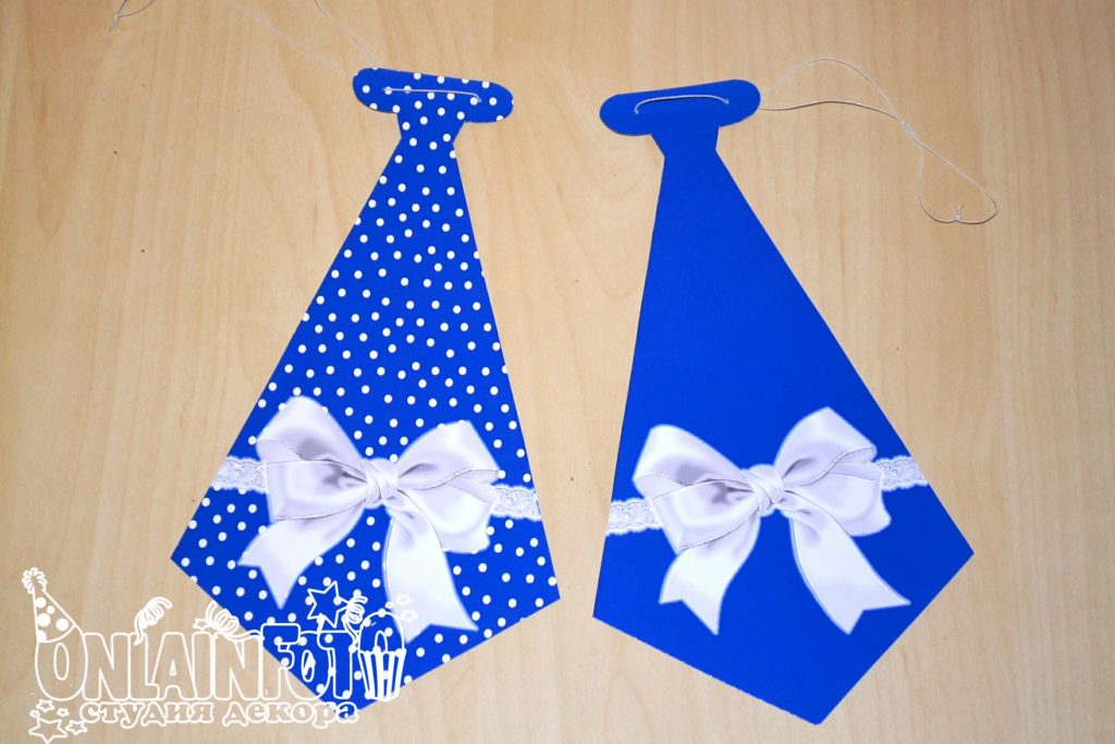 галстуки синие с бантиком