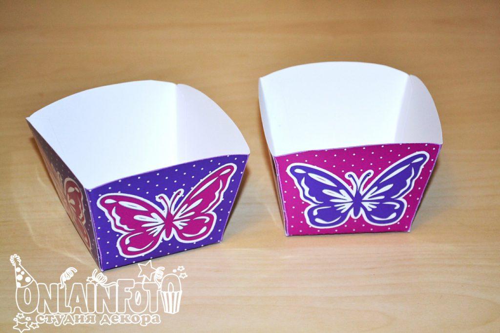 коробочки с бабочками сиреневые