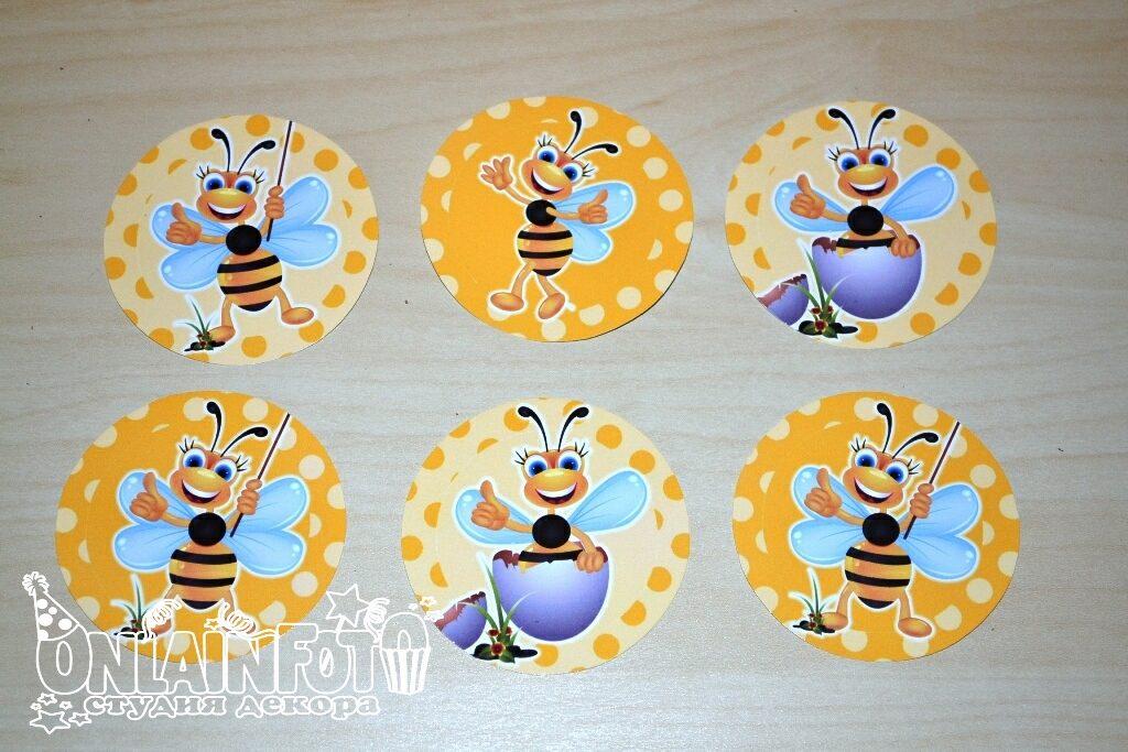 наклейки на стаканчики с пчелками