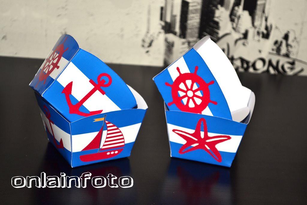 коробочка для попкорна в морском стиле