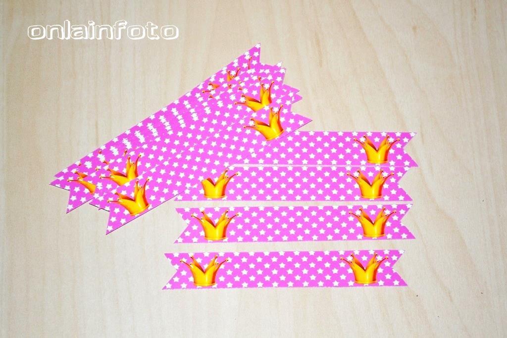 флажки на трубочки принцесс