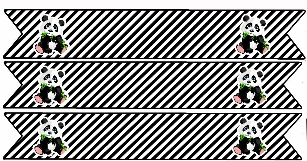 флажки на трубочки мишка панда