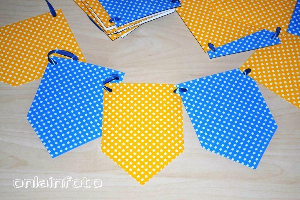желто синяя гирлянда шаблон для печати